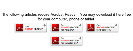 Articles The following articles require Acrobat Reader.  You may download it here free for your computer, phone or tablet.